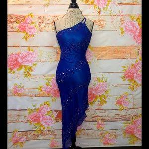 Caché Beaded Silk Asymmetrical Dress